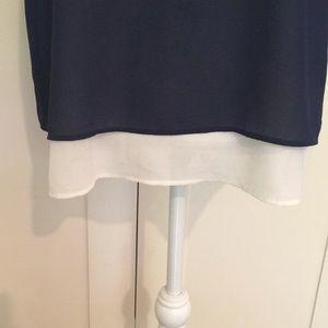 bobeau Tops - Navy and Cream Sleeveless Layered Tank Blouse